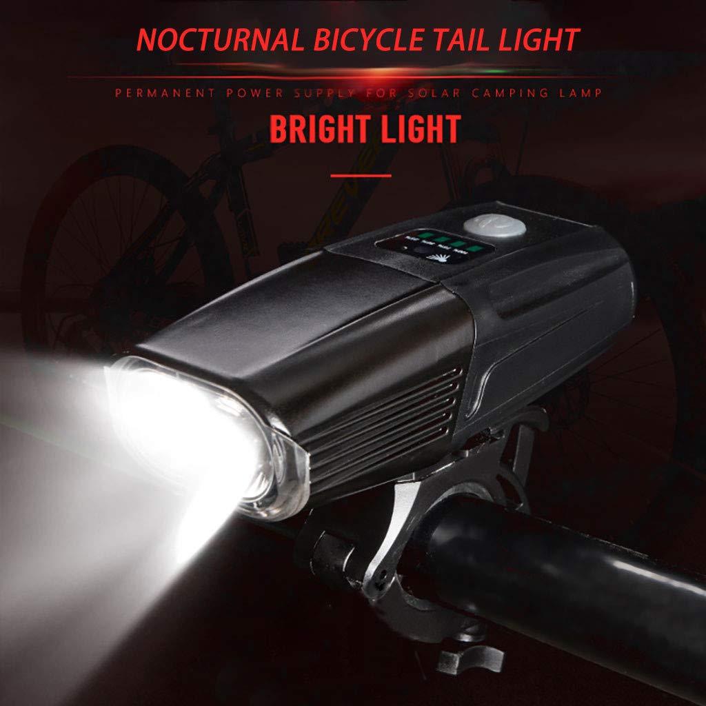 YunZyun Bike Front Light USB Rechargable Cycling Bicycle Head Light Flashlight Waterproof Bike Front Light (Black)