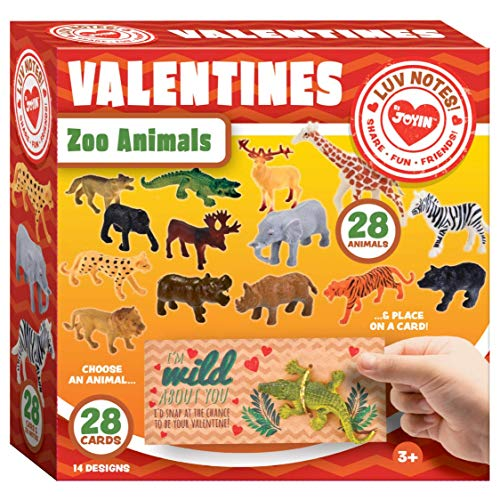 (JOYIN 28-Count Valentines Day Gifts Cards for Kids with Zoo)