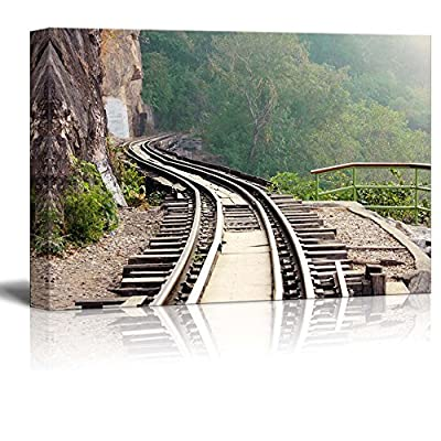 Beautiful Scenery Landscape Dying Railway Tracks in Period World War 2 of Thailand - Canvas Art Wall Art - 12