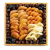 Gourmet Hamper Gift Tray, Nut Platter Featuring Assorted Mixed Dried Fruits in a Wooden Tray, Includes Pitted Dates, Dried Apricots, & More, By Benevelo Gifts