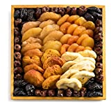 Benevelo Gifts Gourmet Dried Fruit & Nut Gift Platter incl. Apricots, Plums, Pears, Dates & Apples - On a Gorgeous Reusable Wooden Display Tray - Nutritious & Delicious Gift Idea for Any Occasion