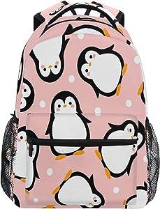 Cute Penguin Backpack for Boys Girls Kids Cartoon Pink Sea Animals Dots Student Bookbag School Bag 14 inch Laptop Backpacks Travel Daypack Shoulder Bag