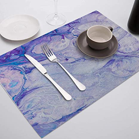 Placemat 1pc Purple Marble Printed Placemat For Dining Table Tableware Durable Dinner Table Mats Drink Coasters Cup Mat Table Decoration Accessories Home Kitchen