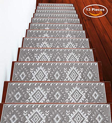 Sussexhome Stair Treads Traditional Collection Contemporary, Cozy, Vibrant and Soft Stair Treads | Gray & White, 9