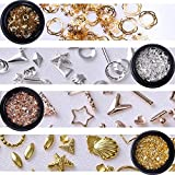 NICOLE DIARY Metal Nail Rivets Studs Kit Rose Gold Silver Sticker Round Square Triangle Tips Mixed Sizes Accessories DIY Manicure 3D Nail Art Decoration 4 Boxes (4 patterns)