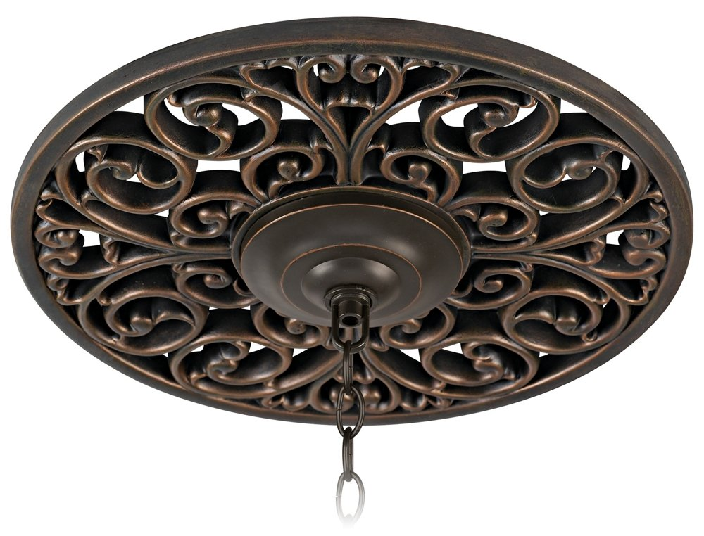 French Scroll 16'' Wide Bronze Ceiling Medallion