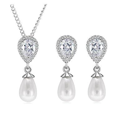 1a6048b62a62 Hanie - Juego de joyas para mujer con pendientes y collar de perlas de  plata con gota ...
