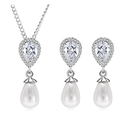 71686b00b1e9 Hanie - Juego de joyas para mujer con pendientes y collar de perlas ...