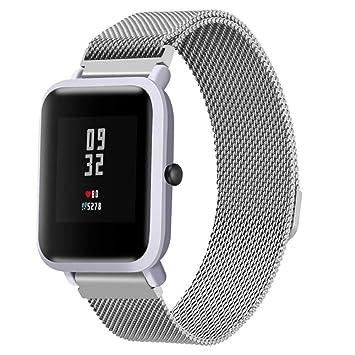 Javpoo Reemplazo Compatible Huami Amazfit Bip jóvenes relojes, milanés bucle magnético acero inoxidable correa de reloj banda bandas accesorio Compatible ...