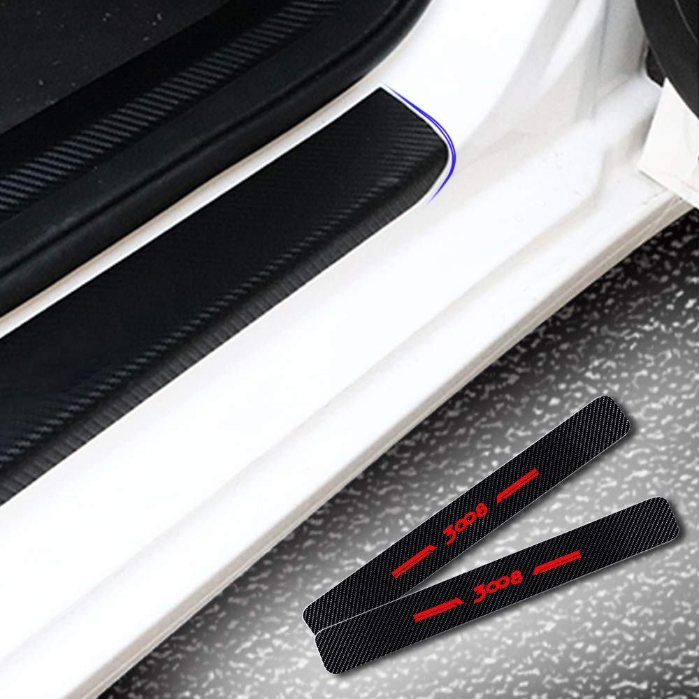 For 2008,Red For 2008 Carbon Fiber Car Door Sill Scuff Guard Anti Scratch Panel Step Protector Stickers