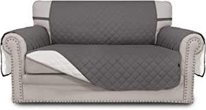 Easy-Going Sofa Slipcover Reversible Loveseat Cover Water Resistant Couch Cover Furniture Protector with Elastic Straps for Pets Kids Children Dog Cat(Loveseat,Gray/Ivory)