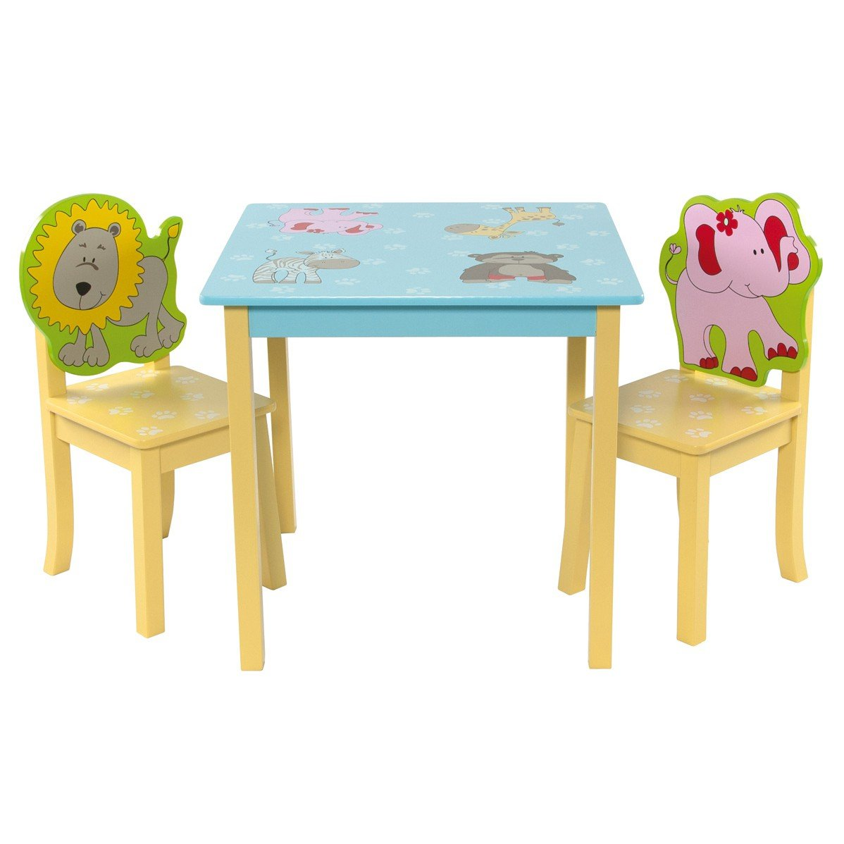 Kids table and chair set animals | 1 table with 2 chairs | children's furniture set Liberty House Toys LHT W010