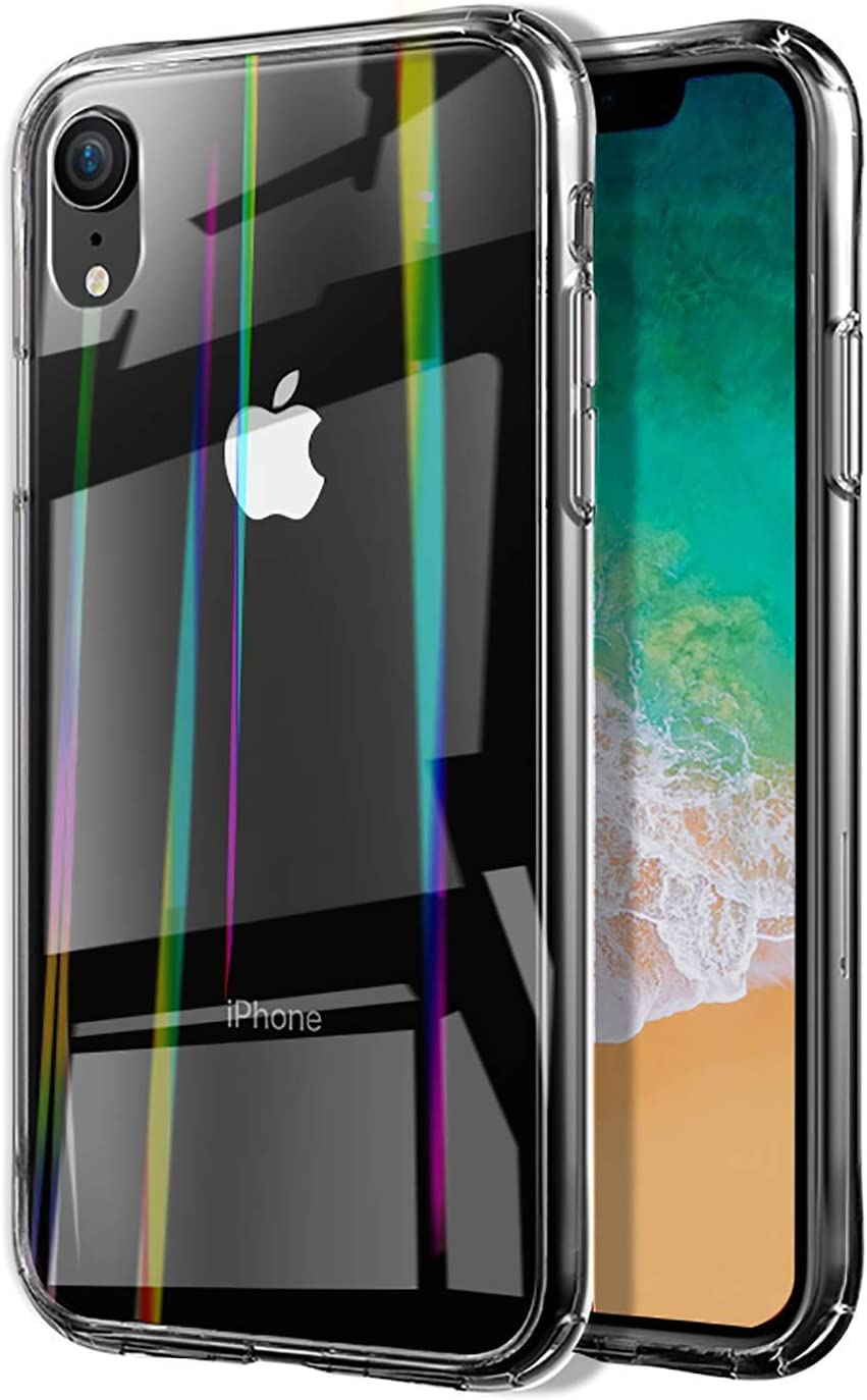 Case Compatible with iPhone XR/iPhone Xs Max Tempered Glass Case, 6.1-6.5 inch Transparent Cover Case, Resilient Shock Absorption and Explosion Protection Design (Crystal Clear, for iPhone XR)