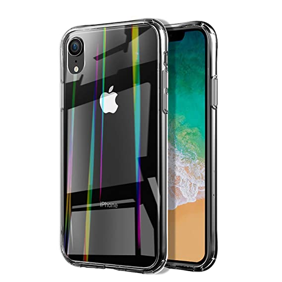 new styles 0f042 e6ace Case Compatible with iPhone XR / iPhone Xs Max Tempered Glass Case, 6.1/6.5  inch Transparent Cover Case, Resilient Shock Absorption and Explosion ...