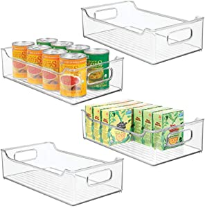 """mDesign Wide Stackable Plastic Kitchen Pantry Cabinet, Refrigerator or Freezer Food Storage Bin with Handles - Organizer for Fruit, Yogurt, Snacks, Pasta - BPA Free, 14.5"""" Long, 4 Pack - Clear"""
