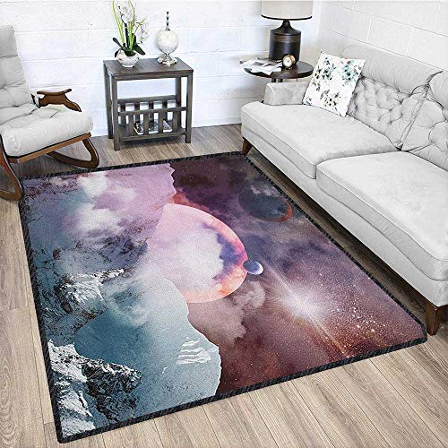 Outer Space Modern Abstract Area Rug,Planets in Fantastic Space Natural Scenery Galaxy Print Multicolor & Anti-Skid Dried Rose Pale Pink Pale Blue 67