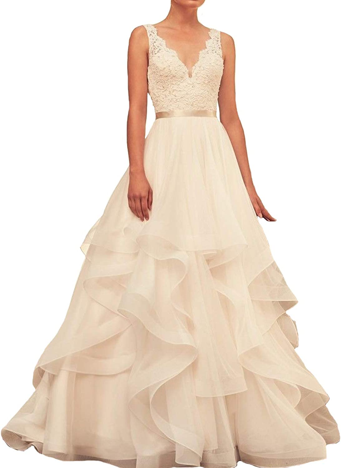 Fair Lady Sheer Neck Lace Wedding Dress Tulle Ball Gown Bridal Gowns Wedding Dresses for Bride