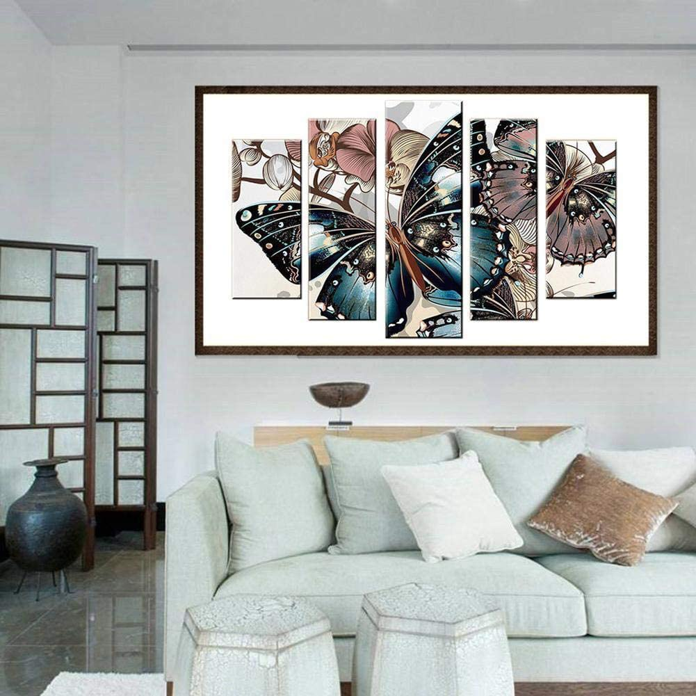 5 Panel Decor Painting Cross Stitch Crafts Wall Art Decor Full Diamond for Room Pasting Area Renococo Multi-Picture Combination DIY Diamond Painting 17 * 38 inches
