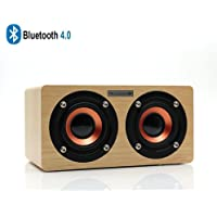 FELiCON® Wireless Wooden Stereo Speakers,LexonTech Portable Bluetooth 4.0 Speakers,10W Output Power 1500mAh Battery with Enhanced Bass Hi-Fi Surround Dual Stereo Sound Speakers for iPhone, iPad, Samsung, Nexus, HTC, Laptop Support TF Card Slot, Hands-free Call ,3.5mm Aux and Built-in Microphone