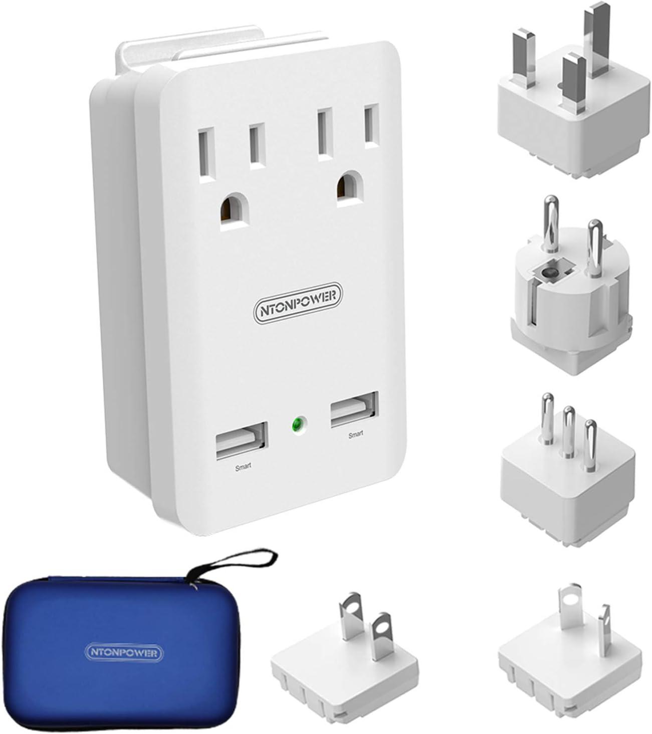 World Travel Adapter Kit - NTONPOWER International Power Adapter, 2 USB Ports 2 Outlets, 2000W Universal Cruise Power Strip with Organizer Case for Europe, Italy, UK, China, Australia, Japan (White)