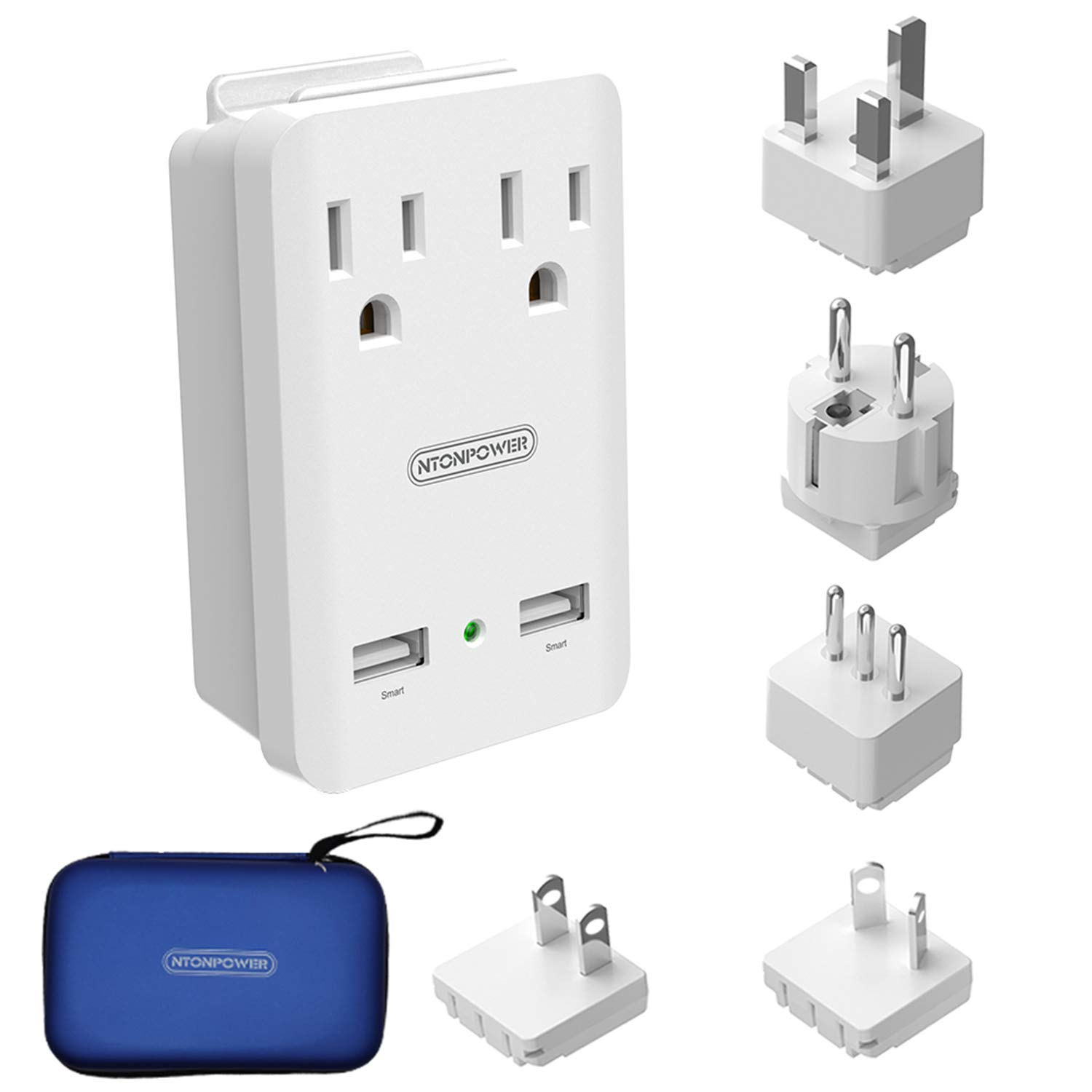 World Travel Adapter Kit - NTONPOWER International Power Adapter, 2 USB Ports 2 Outlets, 2000W Universal Cruise Power Strip with Organizer Case for Europe, Italy, UK, China, Australia, Japan