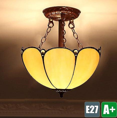 wykbm Tiffany Techo creativos Retro lámpara de Techo Vintage ...
