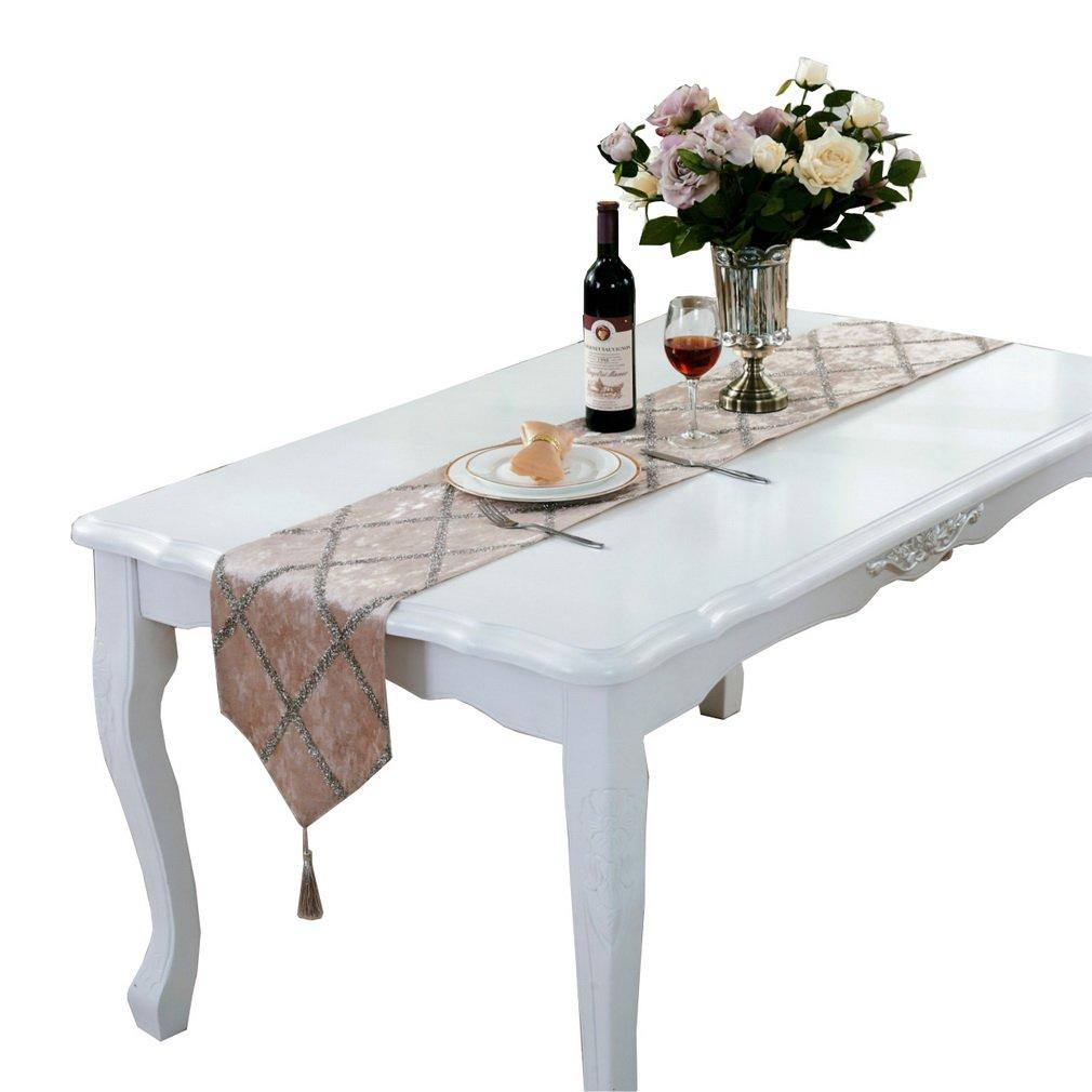 comvipテーブルトップ装飾ホーム菱形パターンテーブルランナータッセル 32*210cm ベージュ 080129EE074 B079DM674J  ベージュ 32*210cm