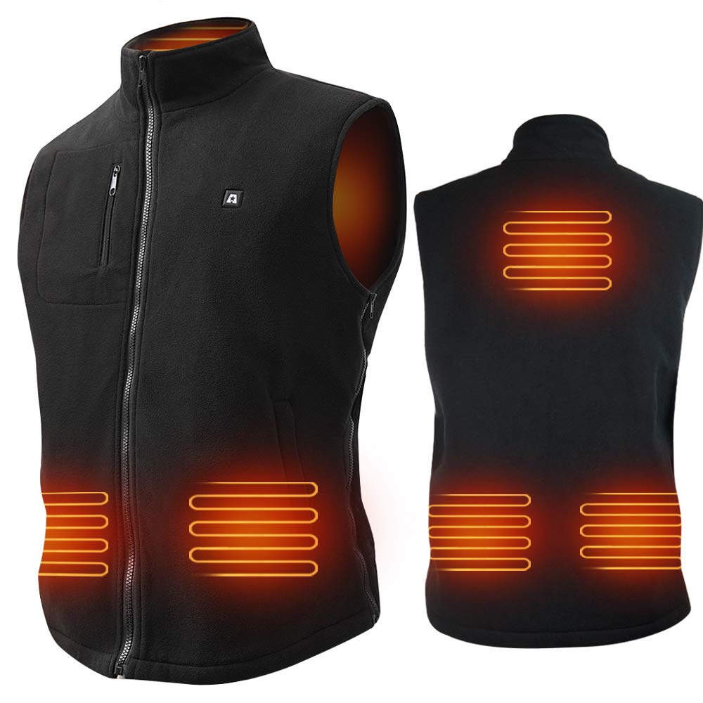 ARRIS Heated Vest Size Adjustable 7.4V Battery Electric Warm Vest 6 Heating Panels for Hiking Camping by ARRIS