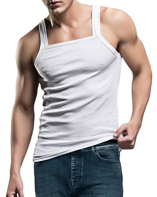 KalvonFu Mens Cotton Square Cut Underwear Tank Top Shirt at Amazon Mens Clothing store: