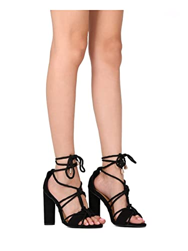 6eebf0dab3 Amazon.com | Alrisco Women Faux Suede Knotted Ankle Wrap Block Heel Sandal  HD12 | Heeled Sandals