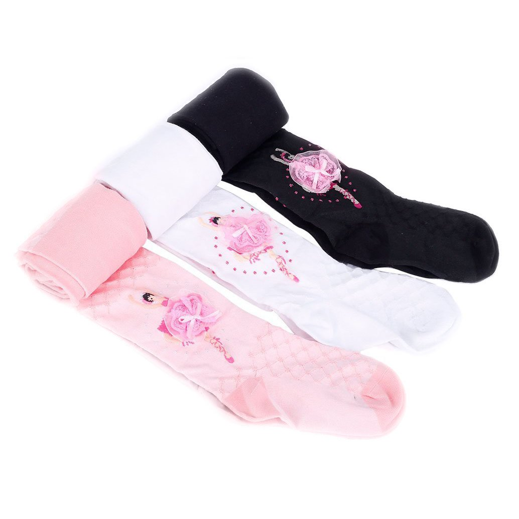 3 Pairs Pretty Cotton Warm Long Socks Rich Tights Pants Pantyhose Leggings for Girls Children Kids 7-9 Years Old