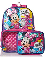 Minnie Mouse Girls School Backpack Lunch Box Book Bag Combo SET