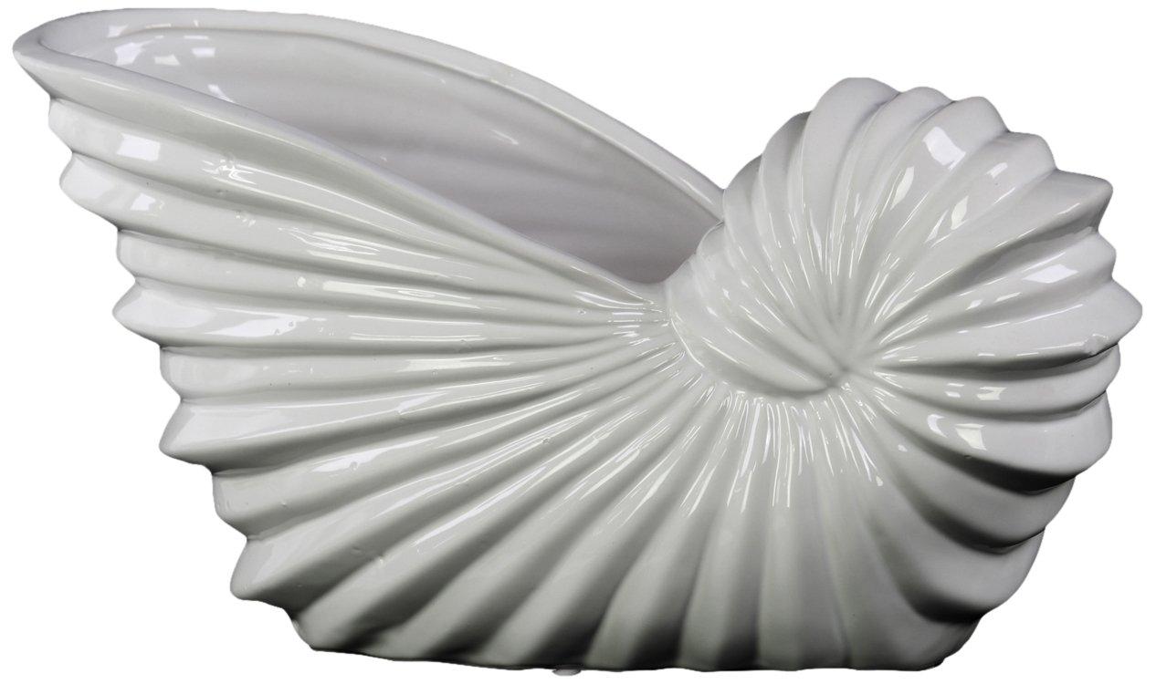 Urban Trends Ceramic Shell Flower Pot, Light Gray