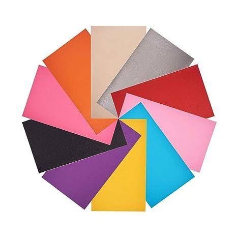 NBEADS 20 Hojas de Piel Sintética de Color Sólido, Hacer ...