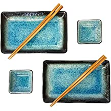 Happy Sales 6 Piece Japanese Sushi Plate Dinnerware Set, Blue Ocean