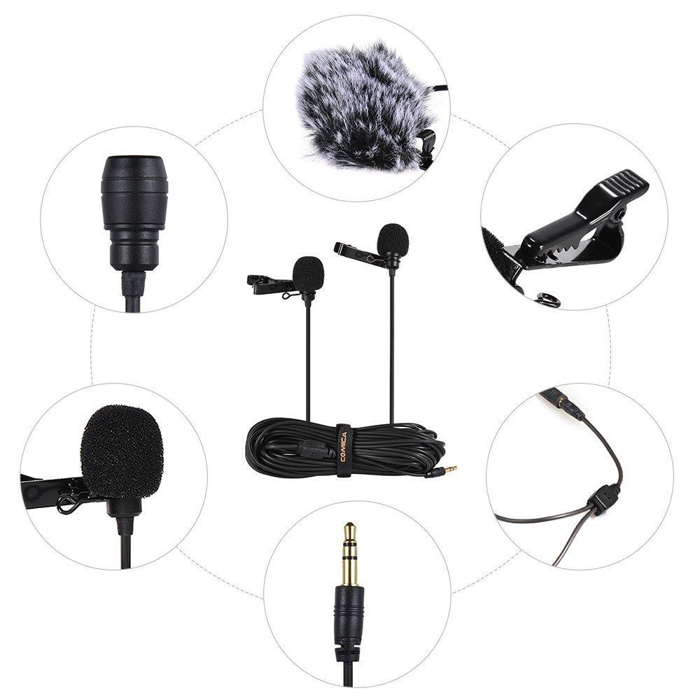 Black,98inch COMICA CVM-D02 Dual-Head Lavalier Solapa micr/ófono Condensador omnidireccional Clip entrevista Youtube Mini micr/ófono para Smartphone iPhone Canon Sony Panasonic DSLR c/ámara GoPro 3,4