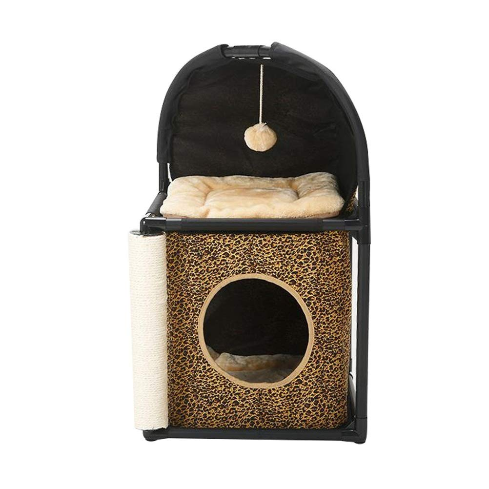 A Soft and Comfortable Cat's Home cat Climbing Cat Toilet Cat's Home Villa cat Frame cat Climbing Frame Cat Toilet Three and one (color   A)