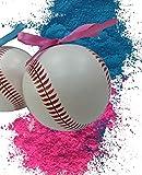 Gender Reveal Baseball Ceramic with Ribbons 2-Pack Pink/Blue Team Girl/Team Boy