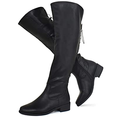 Prime Shoes - Women's Over The Knee Back Lace-Up Stretch Boot - Trendy Low Block Heel Shoe - Sexy Over The Knee Pullon Boot | Over-the-Knee
