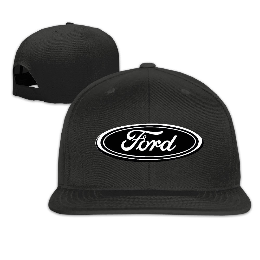 Ford Logo Unisex Adjustable Flat Visor Hat Baseball Cap Black
