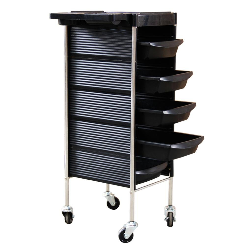 Classic Salon Rolling Storage Trolley Hairdressers Spa Hair Stylist Tray Beauty Barber Cart Roller with 5 Drawers Hair Dryer Holder