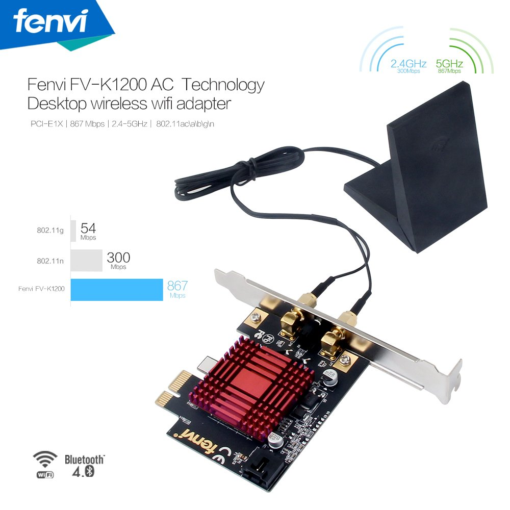 Fenvi FV-K1200AC Bigfoot Network PCI Card Doubleshot Wireless-AC 1200Mbps Bluetooth 4.1 802.11ac/abgn 2x2:2 PCI-E Desktop Network Card Desktop Wireless Gaming Card with Magnetic Antenna