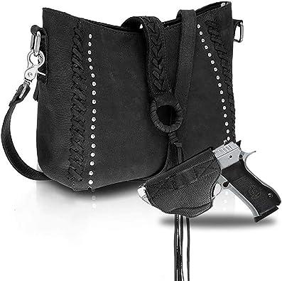 Women/'s Genuine Cowhide Leather Studded Handbag Crossbody Bag