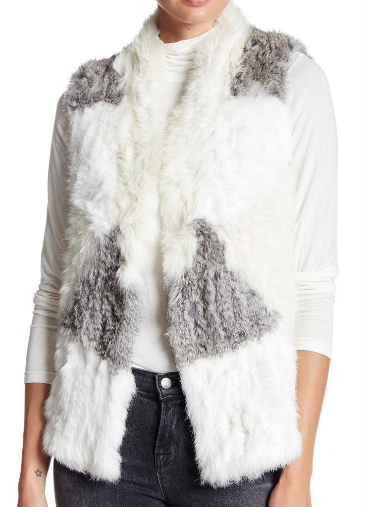 Love Token Jane Genuine Rabbit Fur Gray/White Vest Size XL