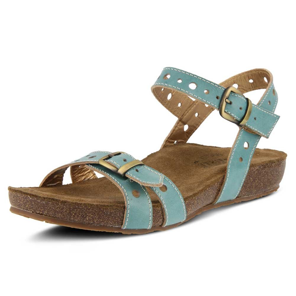 L'Artiste by Spring Step Women's Style Technic Leather Sandal B079NPSDZ1 41 M EU|Sky Blue Leather