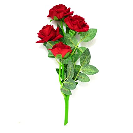 Buy Sofix Beautiful Red Rose Flower Bunch Natural Looking Leaves 5