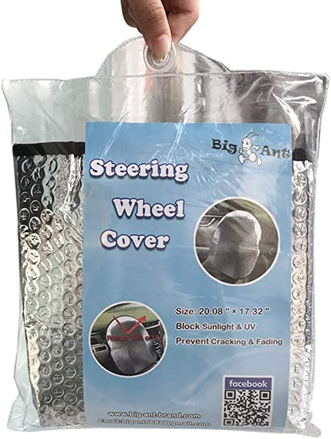 Big Ant Steering Wheel Cover Sun Shade 20.1X 17.3 Bonus Cling Side Window Sunshade-Heat Reflector Fit Most Jumbo//Standard Car-Sliver