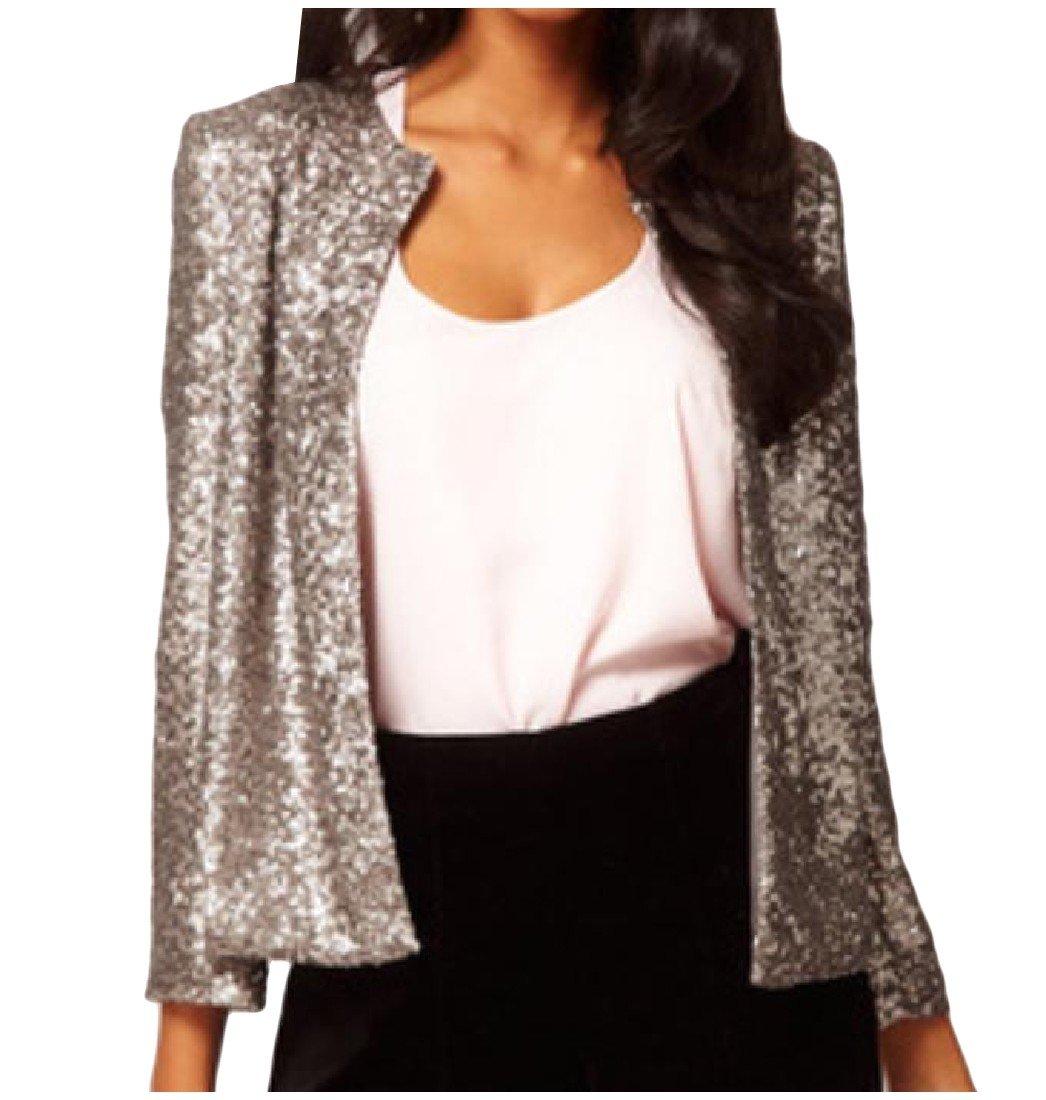 Tootlessly Women Trim-Fit Outwear Sequin Glitter Long-Sleeve O-Neck Blazer