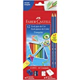 Kit Escolar Lápis de Cor Triangular + 2 Lápis Grafite Nº 2, Faber-Castell, EcoLápis, 120512+2N, 12 Cores