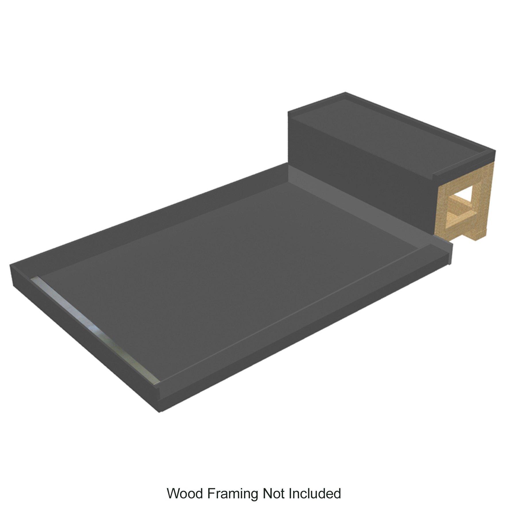Tile Redi USA WF4848L-RB48-KIT Base'N Bench WonderFall Trench Left Drain Base with Seat, 48'' D x 60'' W